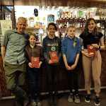 Matt with daughter Amelia, Brooke, Izzy and Lauren at the Suffolk Winter League Cross Country Awards - May 2018